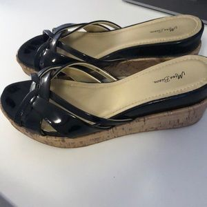 Black patent leather and cork wedge sandals